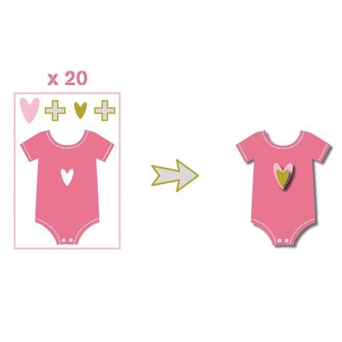 TOGA Pack de 20 Formes Découpées Body Rose Vert Gris