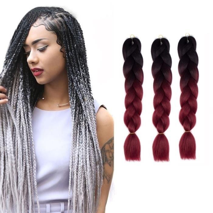 Extension cheveux Couleur Mode dégradé individuelle Braid Perruques Chemical Fiber Big Tresses Longueur: 60 cm Rouge Noir vin