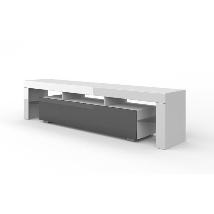 MEUBLE TV Meuble tv blanc mat gris laqué sans led 190 x 45 x