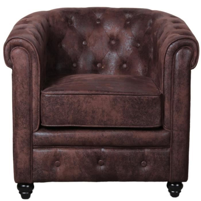 Fauteuil chesterfield marron microfibre capitonne style - Fauteuil cabriolet chesterfield ...