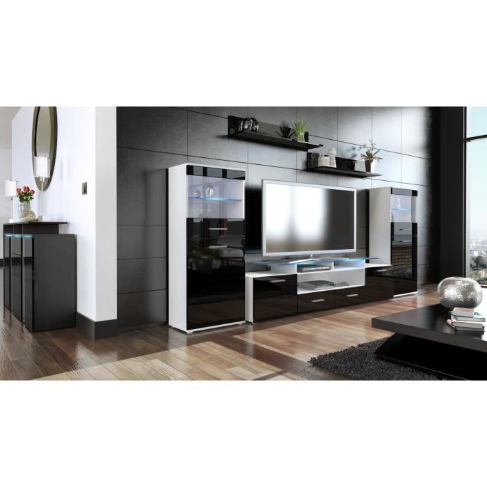 ensemble de 3 meubles tv blanc et noir achat vente meuble tv ensemble de 3 meubles tv bl. Black Bedroom Furniture Sets. Home Design Ideas