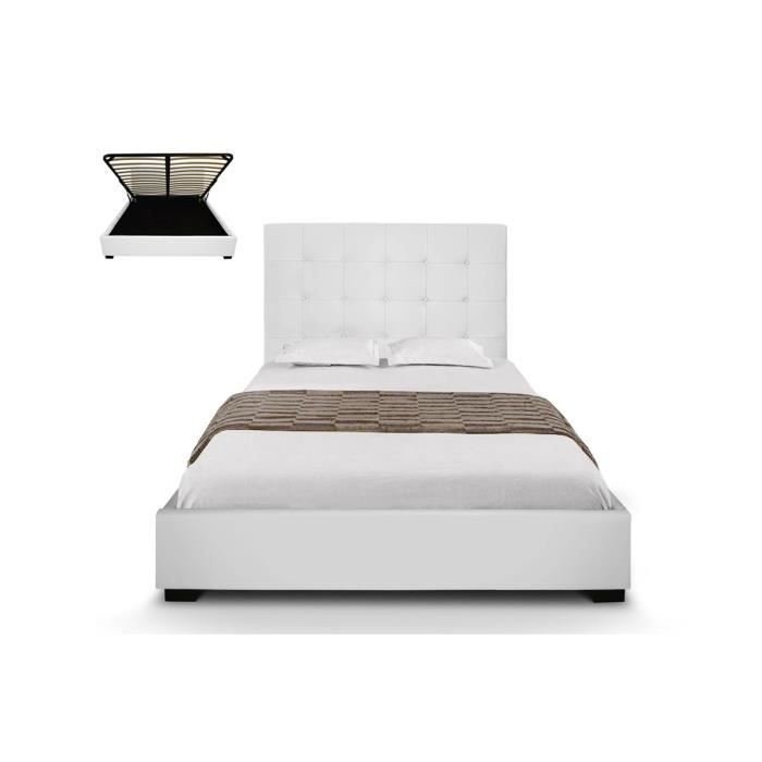 lit coffre capitonn sommier coffre cuir blanc 140x190 cm romeo avec le lit coffre capitonn. Black Bedroom Furniture Sets. Home Design Ideas