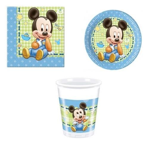 Kit d coration anniversaire mickey b b pour 8 achat for Decoration maison mickey