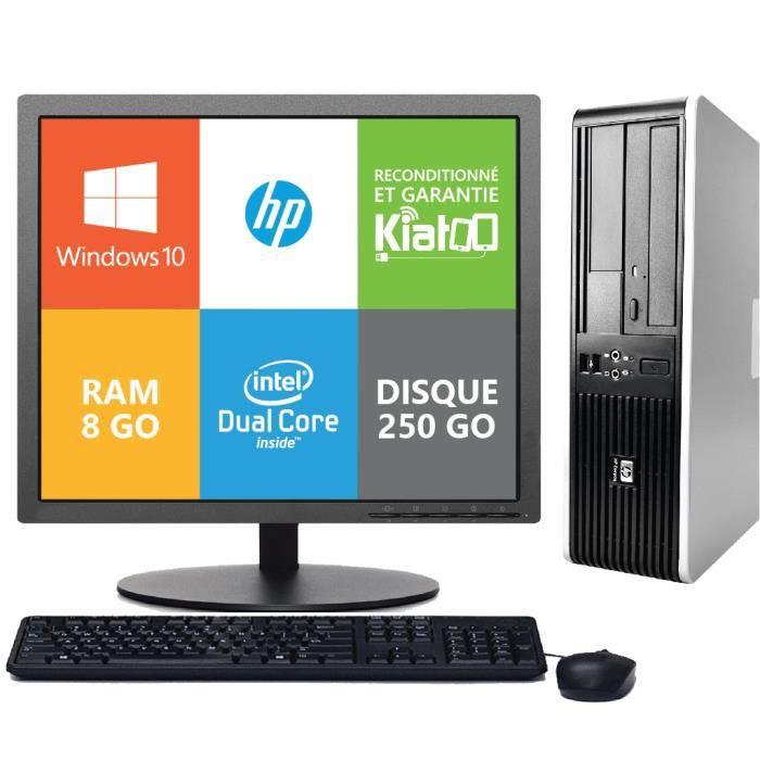 UNITÉ CENTRALE + ÉCRAN ordinateur de bureau HP 7800 dual core 8go ram 250