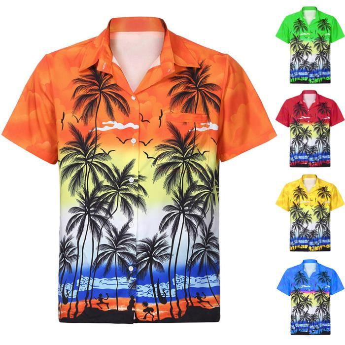 Chemise hawaïenne Hawaï hawaii chemise gris palmiers Noir