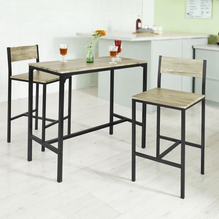 SoBuyR OGT03 Ensemble Table De Bar 2 Chaises Set 1 Haute Cuisine