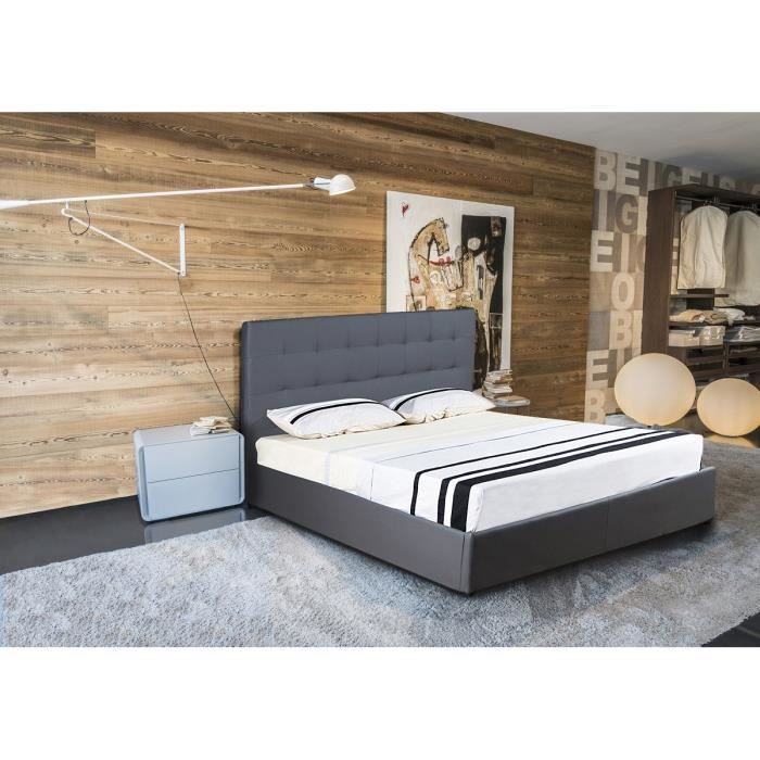 tsar lit avec rangement 160x200cm sommier gris moncornerdeco. Black Bedroom Furniture Sets. Home Design Ideas