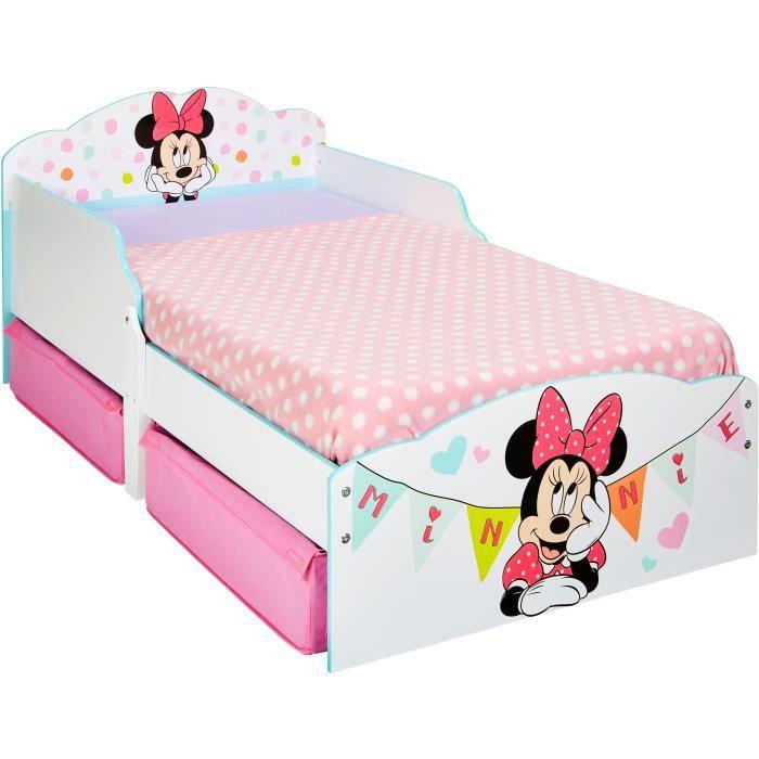 LIT COMBINE  Minnie Mouse - Lit enfant en bois 140 * 70 cm avec