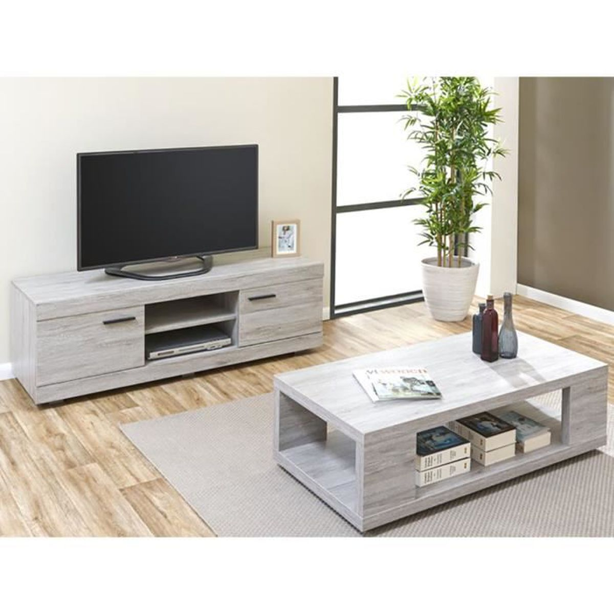 Tom ensemble table basse meuble tv gris achat for Meuble buffet salon