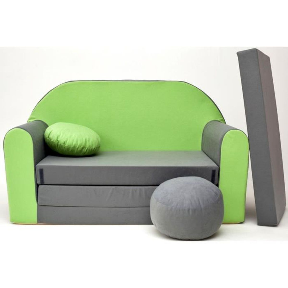 canape sofa enfant 2 places convertible gris vert achat vente fauteuil canap b b. Black Bedroom Furniture Sets. Home Design Ideas