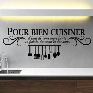 STICKERS Noir Créative Stickers muraux pour Cuisine Décorat