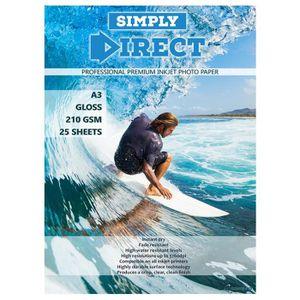 PAPIER IMPRIMANTE 25 x Simply Direct A3 Brillant Papier d'impression