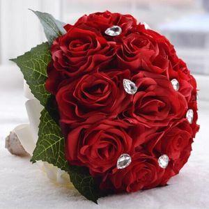 FLEUR ARTIFICIELLE ROUGE 27*25cm bouquet de mariage boule de rose art