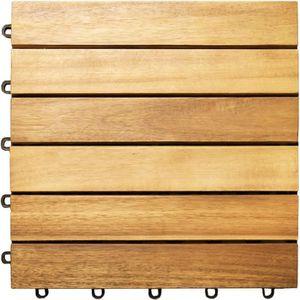 DALLAGE 11x Dalles de terrasse en bois d'acacia pour 1m² -