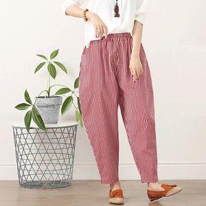 PANTALON Femmes Coton et lin Plus Size Stripe Facile Haren