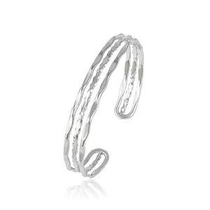 BRACELET - GOURMETTE Bracelet Jonc Triple Charms Style Pandora Argent F