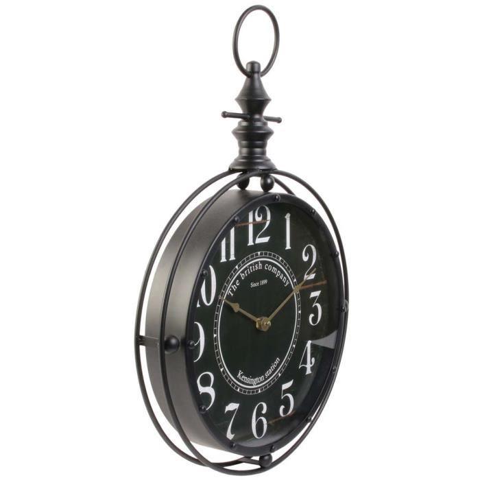 Horloge gousset noire - 35 x H 53 cm - The british company - Vintage Noir