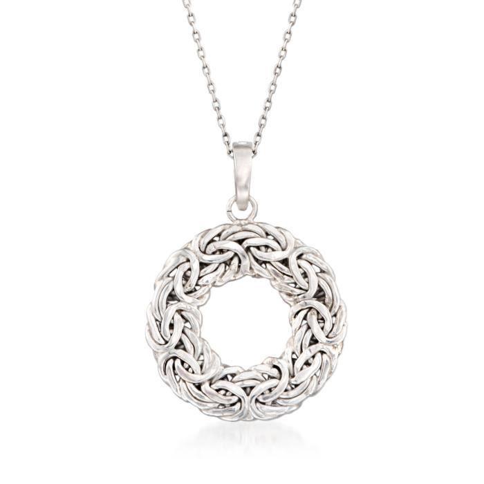 Chaine De Cou Vendue Seule Femmes en argent sterling Byzantin cercle ouvert collier pendentif. 18- XZHG1