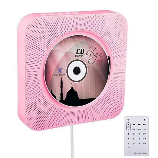 Lecteur CD enfant,Lecteur CD créatif mural Bluetooth Portable Home Audio Boombox avec télécommande Radio FM haut - Type pink EUPlus