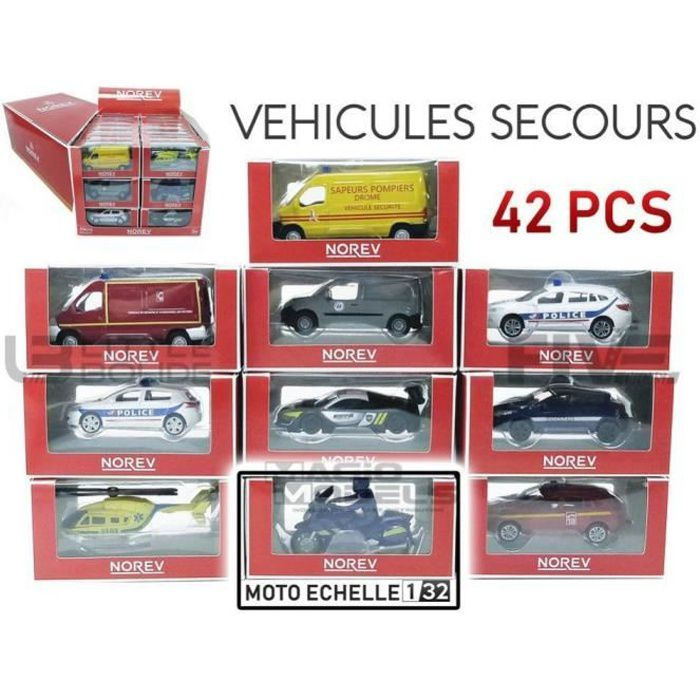 Voiture Miniature de Collection - NOREV 1/64 - PEUGEOT Pack Display Emergency 42 Pcs Assorties - Divers - 319210DISPLAY