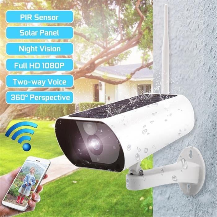 1080P HD Caméra IP Batterie Rechargeable WiFi Surveillance sans Fil avec Panneau Solaire Audio Bidirectionnel