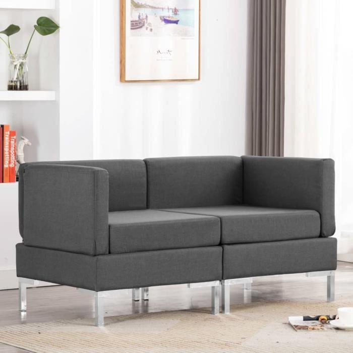 Canapé d'angle Gris Tissu Pas cher