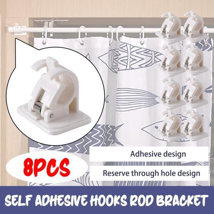 Crochets auto-adhésifs support de tringle à rideau pôle draperie supports de crochet rideaux 8 pièces @ouniondo 996