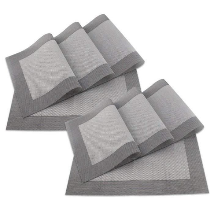 Design Lot de 8 Sets de Table 45 x 30 CM PVC Tisse Gris