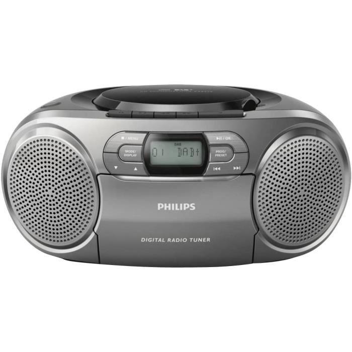 Radio CD Portable Philips AZB600/12 (Dynamic Bass Boost, Dab+, Lecteur CD/Cassette, entrée Audio 3,5 mm) Argent foncé