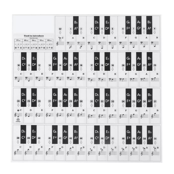 Autocollants pour clavier Autocollants de Piano en PVC Décor de Piano Écologique Transparent Touche Noire + Blanche(T-31W )