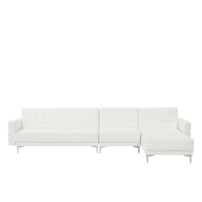 Beliani - Grand canapé d'angle à gauche en simili-cuir blanc ABERDEEN
