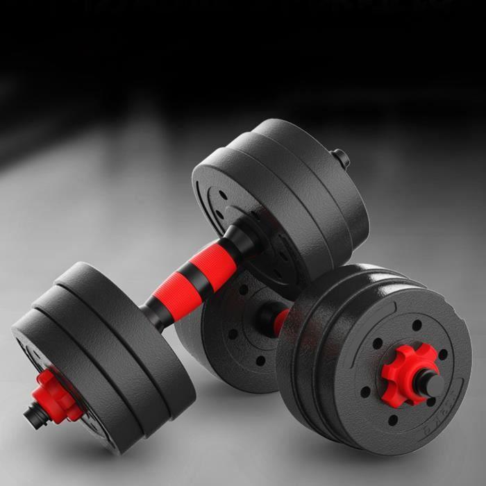 BESPORTBLE Haltère réglable 1 paire 20KG - barre d'haltère caoutchoutée rouge et noire