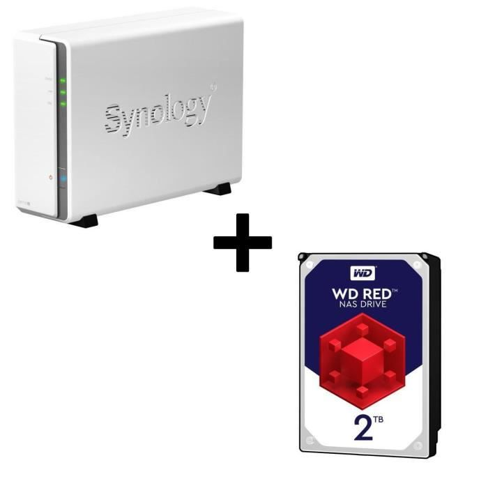 Pack Synology Serveur NAS DiskStation DS115j + 1 Disque Dur WD Red 2To 64Mo 3.5 WD20EFRX