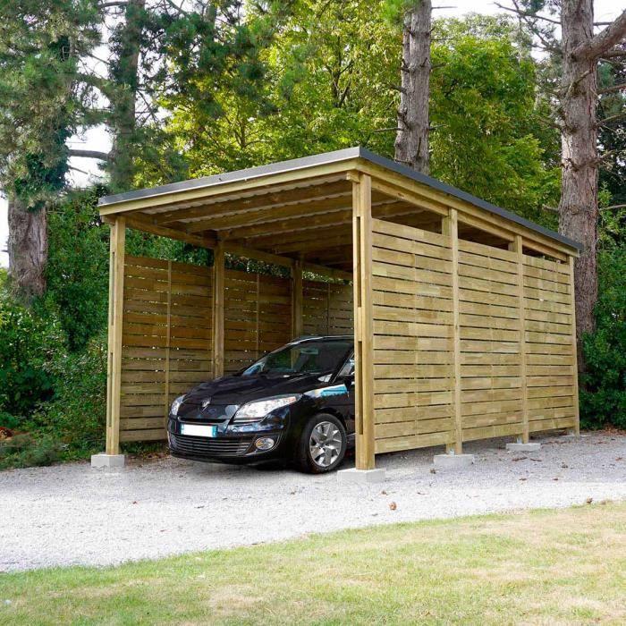 Carport bois PREMIUM, 1 voiture, avec panneaux latéraux - 357 x 586 x H.280 cm