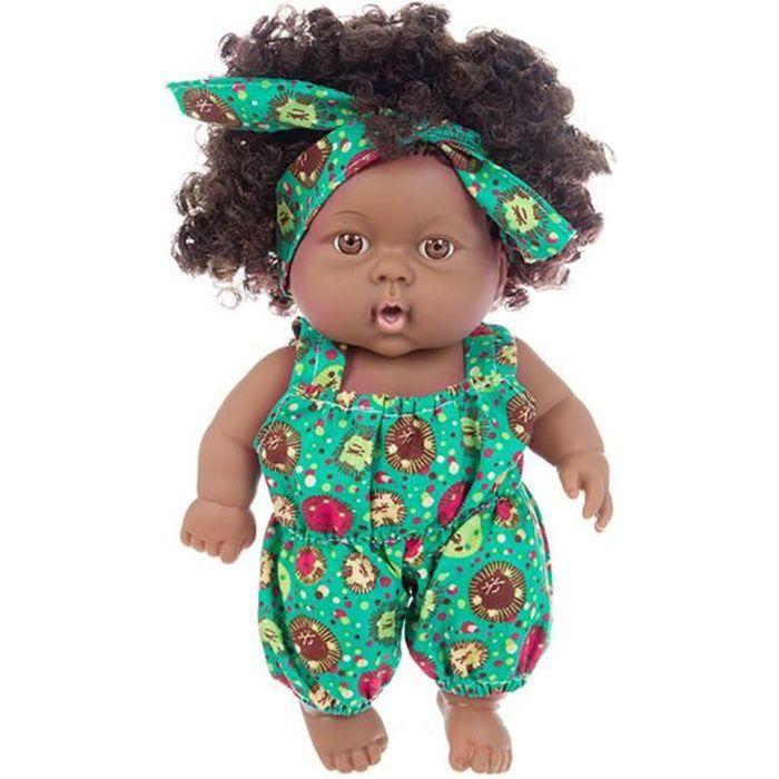 Noir Doll Baby Doll Lifelike Simulation fille noire africaine bébé jouet avec Salopette Figure, Bleu, Vert