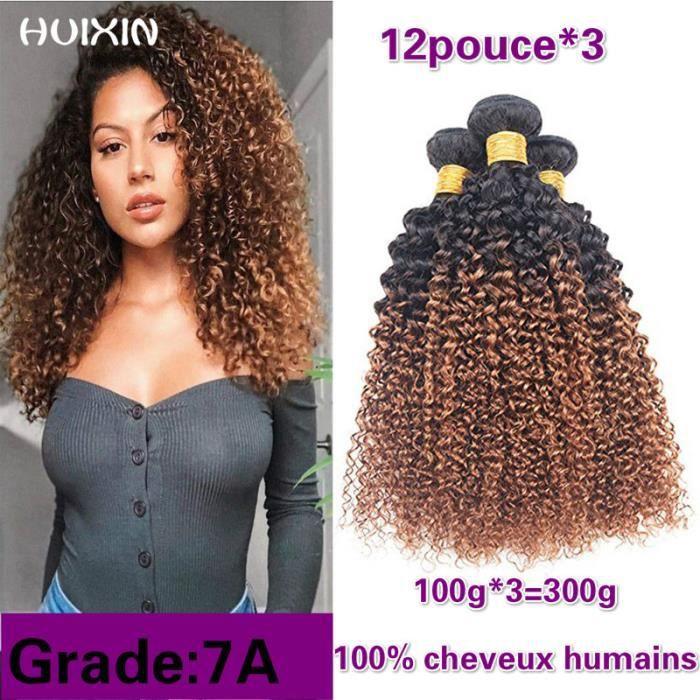 Ombre brésilienne 1B -30 Kinky Curly 3Bundles Extension de cheveux de Remy humains 100g-p 12pouce