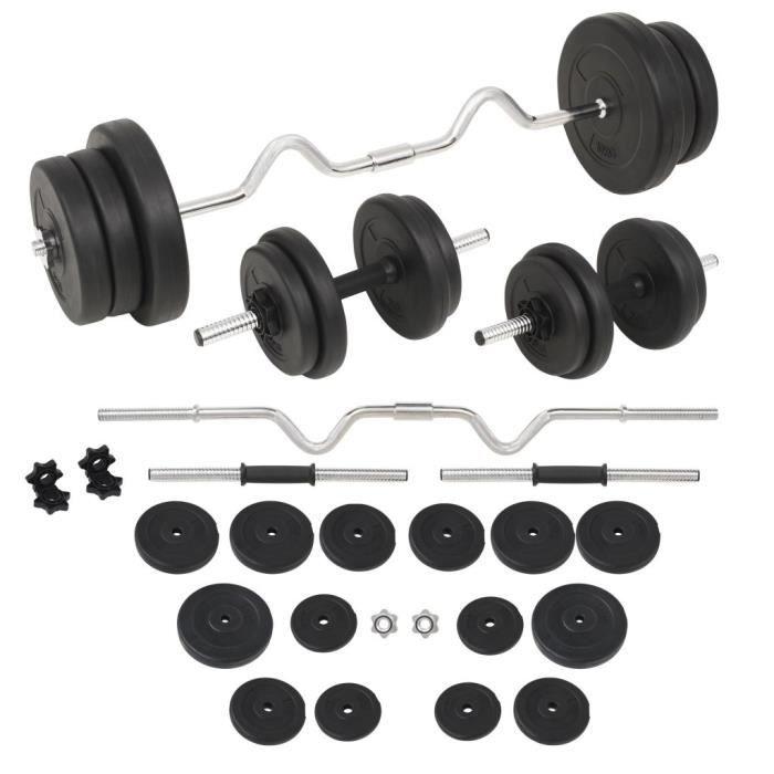 Ensemble d'haltères et barres d'haltères 60 kg Disques Poids Musculation Fitness