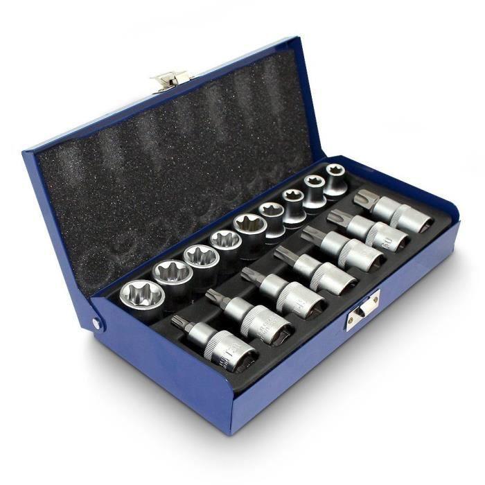 Coffret kit 16 clés Torx Bleu