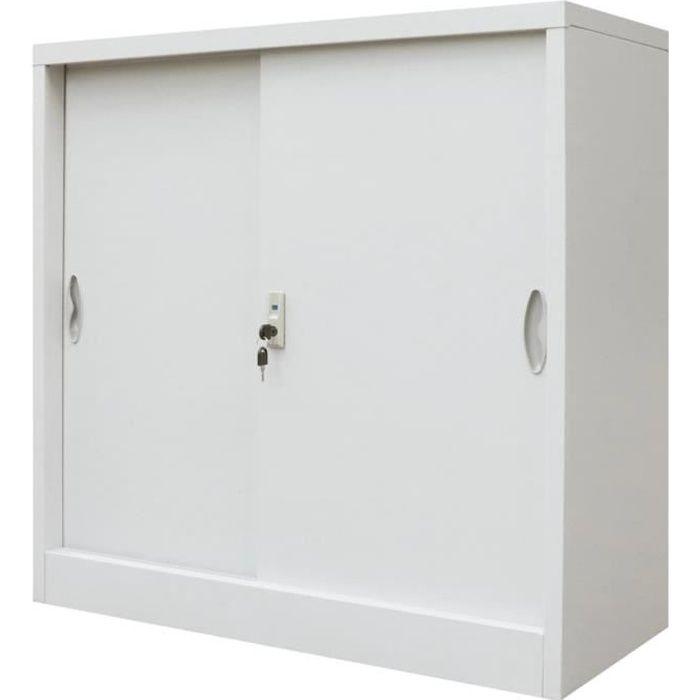 Luxueux Magnifique-Armoire de Bureau Armoire a casiers armoires de rangement avec porte coulissante Métal 90x40x90 cm Gris