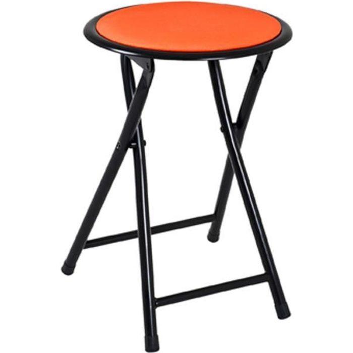 Tabouret pliante noir-orange, L30 x H45 x P30 cm
