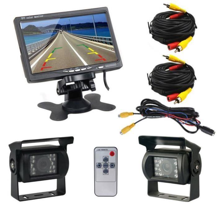 Podofo Caméra de recul avec Câble d'Extension 7 Pouces TFT LCD Ecran Moniteur de Véhicule + 2 Caméras Arrière IR LED Vision Nocturne