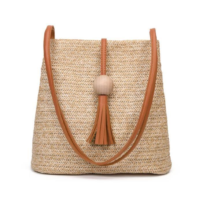 Bali Vintage Sac a bandouliere en cuir fait a la main Sac de plage rond en paille Sac en rotin rond pour filles Petit sac a