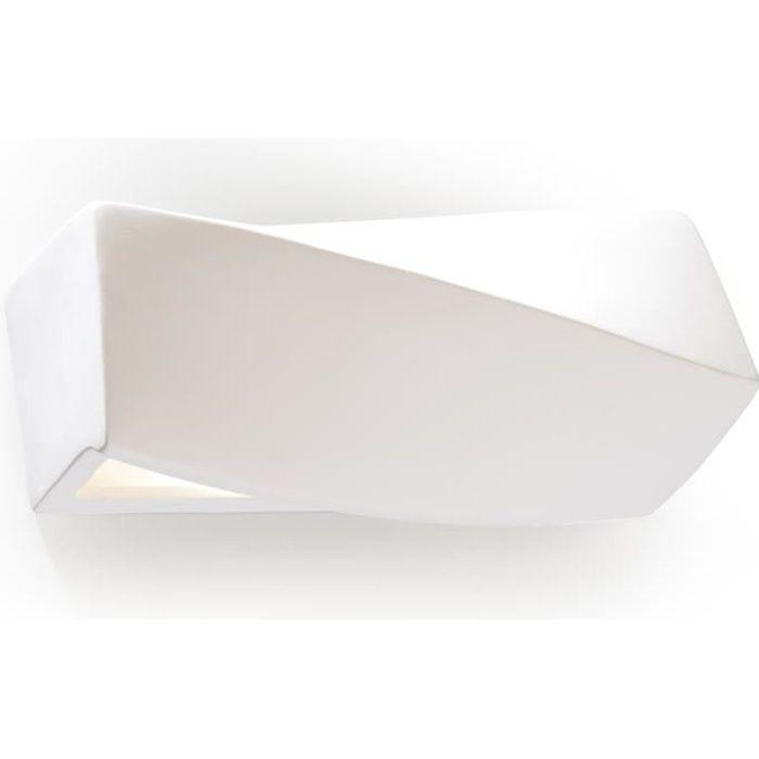 Applique Murale Céramique SIGMA MINI Lampe Murale Moderne Design pr Chambre Salon Escalier Couloir - Blanc