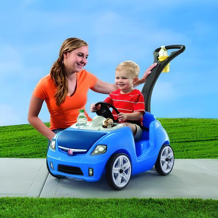 STEP2 Porteur Pousseur WHISPER RIDE II poussette voiture bleu pour enfant en plastique garçon 1,5 an à 4 ans