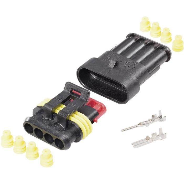 CONNECTEUR SECTEUR - Set Superseal série AMP-Superseal 1.5mm TE Connectivity 4016139188287 Nbr total de pôles 4 Pas: 6 mm 1 set