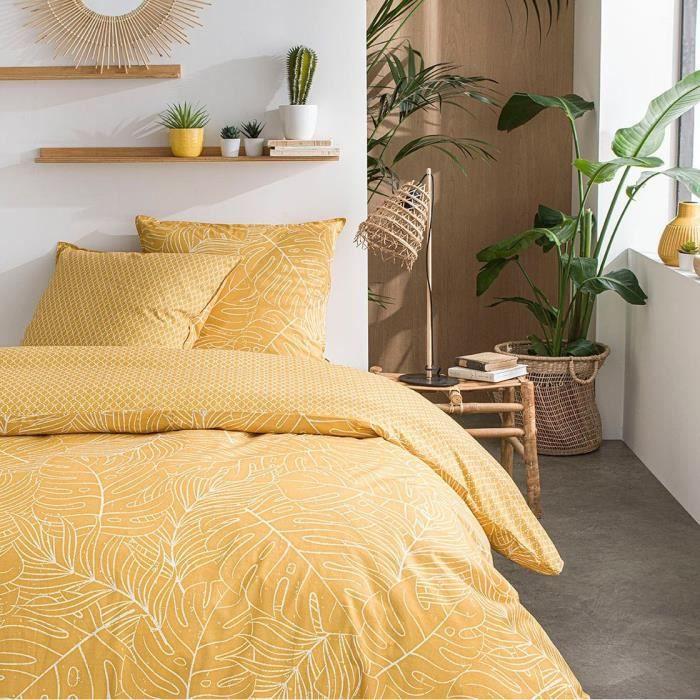 TODAY Parure de lit SUNSHINE 5.59 - 2 personnes - 240 x 260 cm coton - Imprimé Jaune Jungle TODAY
