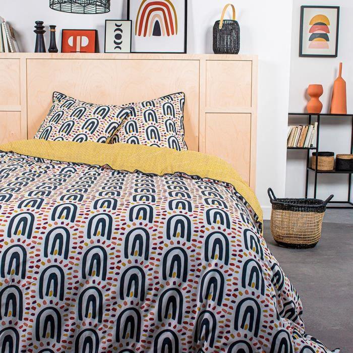 TODAY Parure de lit 2 personnes - 220 x 240 cm - Coton imprime jaune Ethnique DESERT CHIK Chalbi