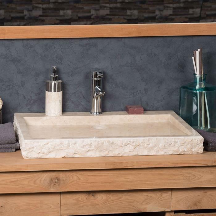 Grande Vasque 70cm à poser rectangle en pierre ...
