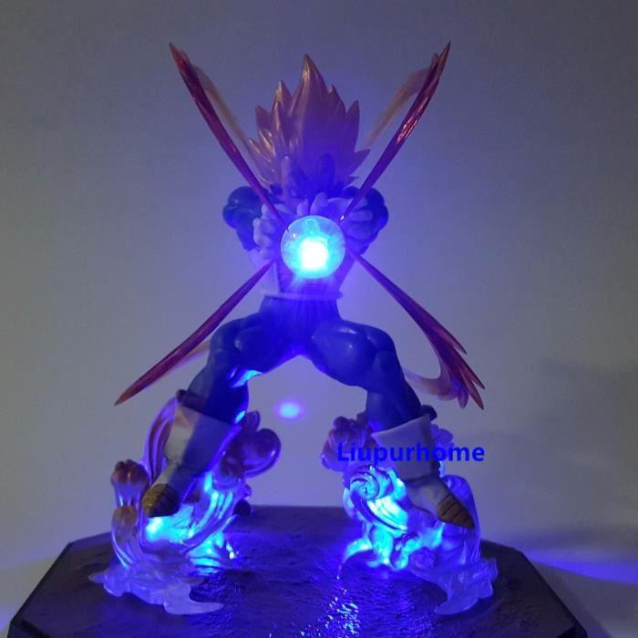 Dragon Ball Z végéta Goku Gohan père fils PVC modèle figurines d'action Dragon Ball Super Saiyan végéta Goku lumière Led enfants jou