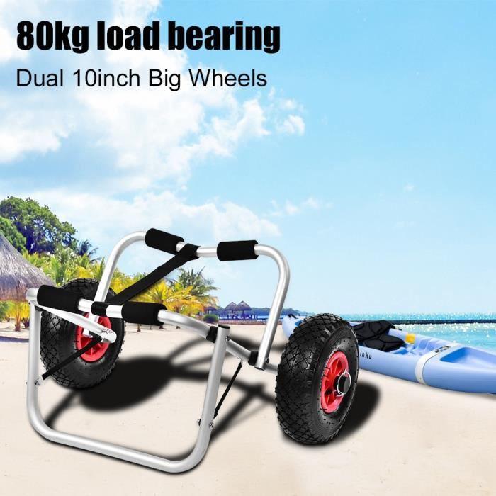 Chariot de transport Chariot kayak canoë 80kg chariot à bateau remorque porte-kayak Accessoire de kayak